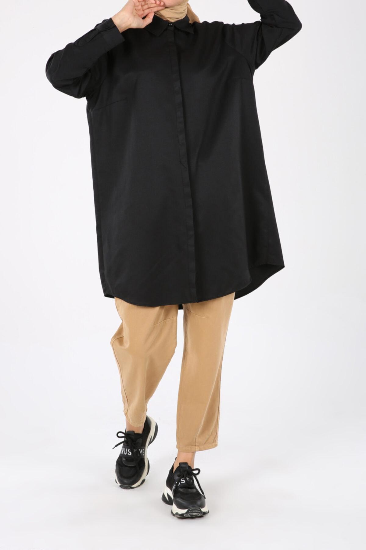 Siyah Büyük Beden Gizli Patlı Gömlek Tunik