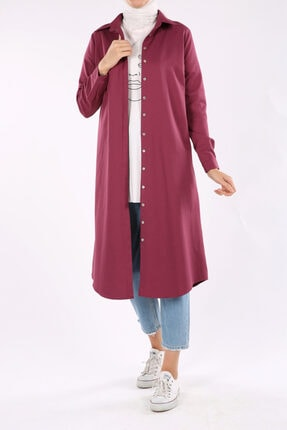 ALLDAY Kadın Gül Kurusu Gizli Patlı Uzun Tunik 1