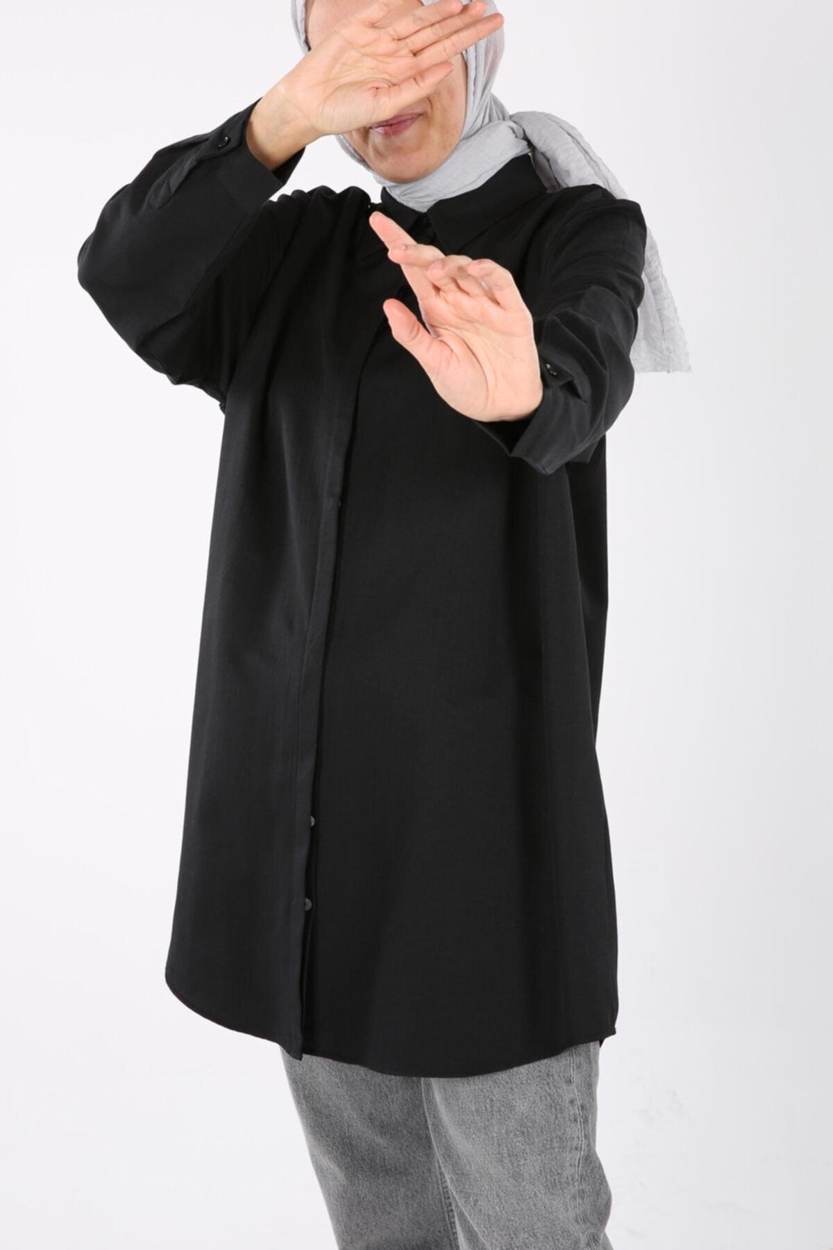 Siyah Büyük Beden Gömlek Tunik