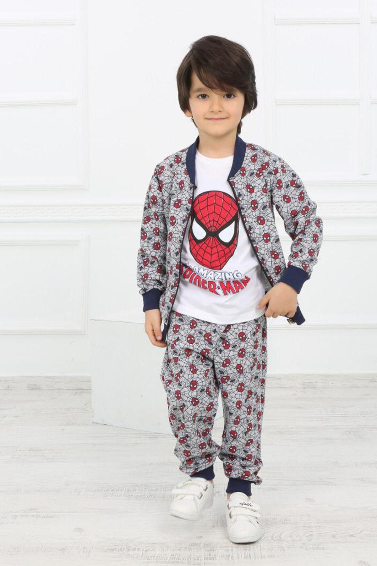 Erkek Çocuk Gri 3'lü Örümcek Desenli Takım