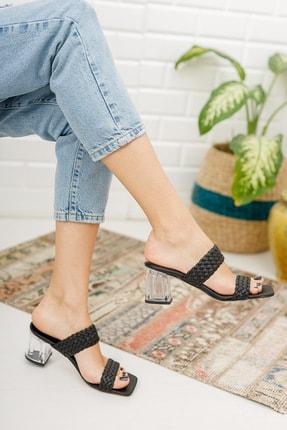meyra'nın ayakkabıları Kadın Siyah Örgü Bant Ve Şeffaf Topuk Detaylı Topuklu Terlik 2