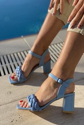 İnan Ayakkabı Kadın  Mavi Küt Burun Örgü Tek Bant Topuklu Ayakkabı 3