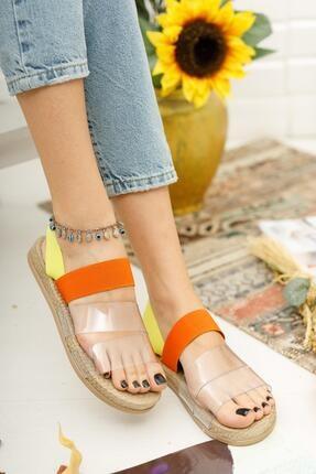 Muggo Kadın Turuncu Şeritli Sandalet 0