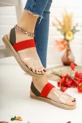 Muggo Kadın Kırmızı Yeşil Şeritli Sandalet 1