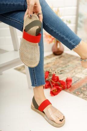 Muggo Kadın Kırmızı Yeşil Şeritli Sandalet 3