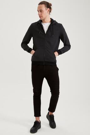 Defacto Erkek Siyah Slim Fit Kapüşonlu Fermuarlı Sweatshirt 1