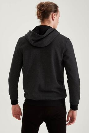 Defacto Erkek Siyah Slim Fit Kapüşonlu Fermuarlı Sweatshirt 3