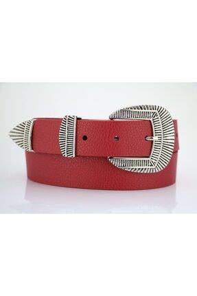 LENA KEMER Kadın Kırmızı Gümüş Tokalı Kemer 0