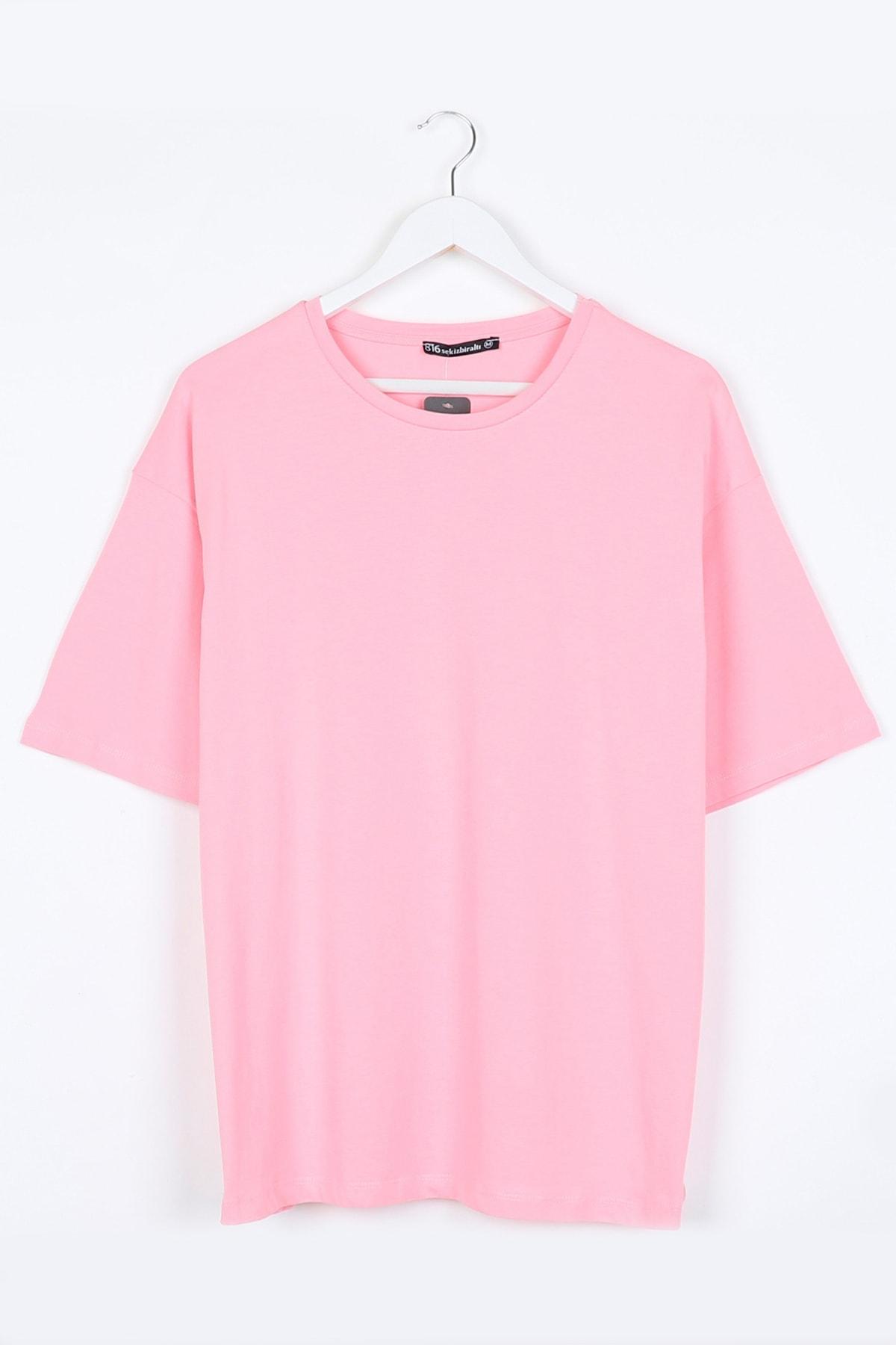 Toz Pembe Kadın Basic Oversize Tshirt