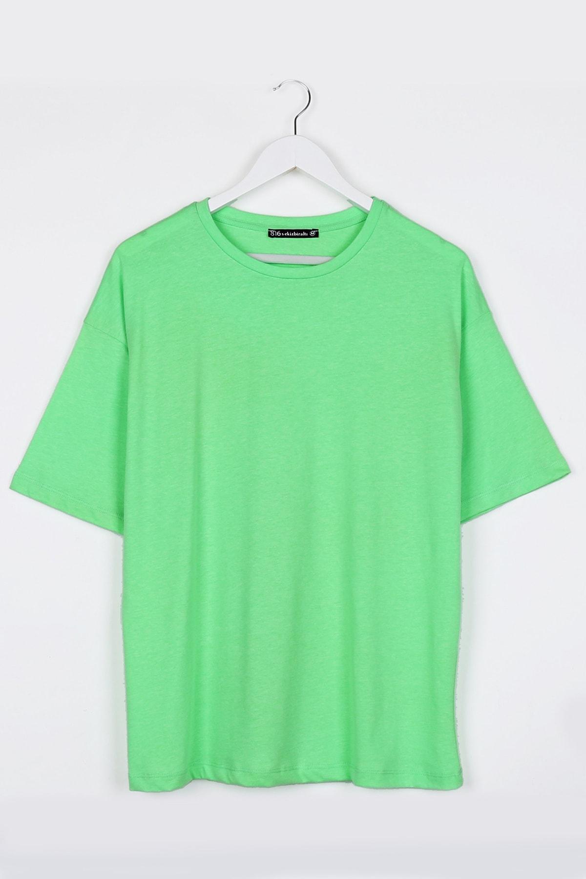 Neon Yeşil Kadın Basic Oversize Tshirt