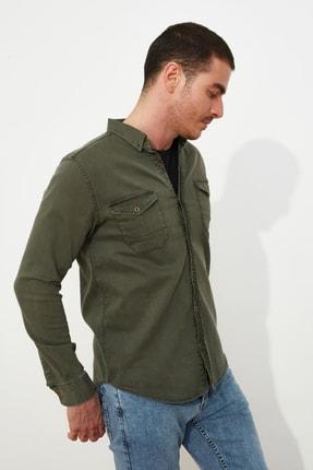 TRENDYOL MAN Haki Erkek Metal Düğmeli Çift Cepli Regular Fit Denim Gömlek TMNSS20GO0104 3