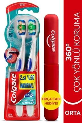 Colgate 360 Komple Ağız Temizliği Çok Yönlü Koruma Orta Diş Fırçası 1+1 Fırça Kabı Hediye 0
