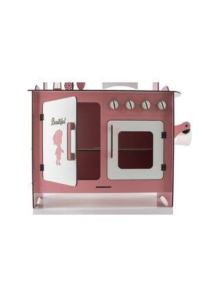 EMRİN AHŞAP OYUNCAK VE HEDİYELİK EŞYA Pembe Renk -Büyük Boy  Evcilik Oyuncak Mutfak Seti - Montessori - Model:epyb1 2