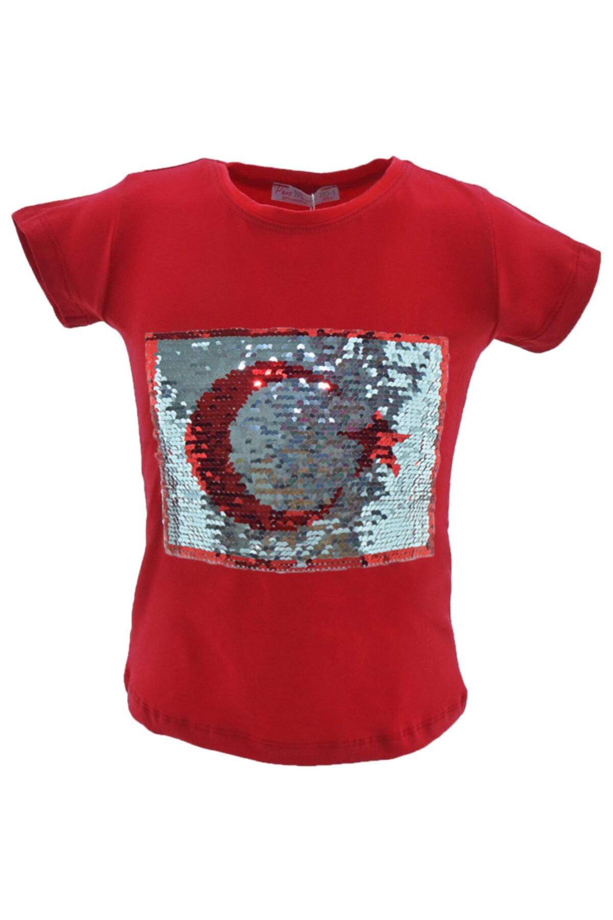 Peri Masalı Kız Çocuk Kırmızı Çift Taraflı Pullu Bayrak Desenli Tişört