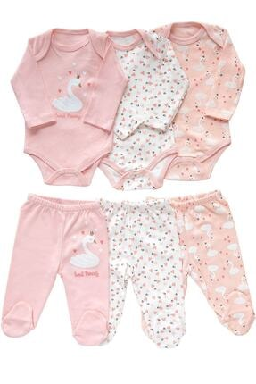 Necix's Kız Bebek Pembe Kuğu Desenli 3 Takım 6 Parça Çıtçıtlı Takım 0