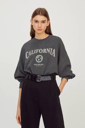 Pull & Bear Kadın Kolej Logolu Sweatshirt 0