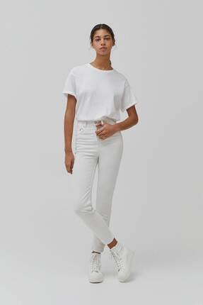 Pull & Bear Kadın Beyaz Süper Yüksek Bel Slim Fit Mom Jeans 0
