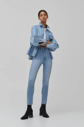 Pull & Bear Kadın Süper Yüksek Bel Slim Fit Mom Jean 0