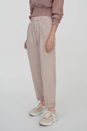 Pull & Bear Kadın Pudra Slim Fit Slouchy Pantolon 1