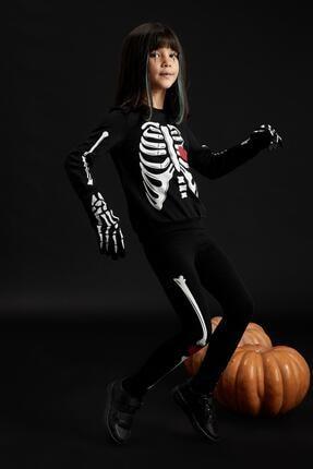 Defacto Kız Çocuk Iskelet Baskılı Sweatshirt Ve Tayt Takım 0