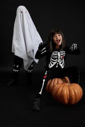 Defacto Kız Çocuk Iskelet Baskılı Sweatshirt Ve Tayt Takım 2
