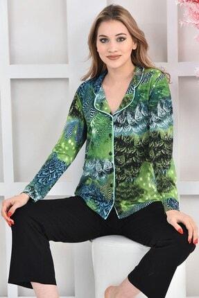 OENDO Yeşil Siyah Baskılı Viskon Örme Pijama Takımı Nd-2005 3