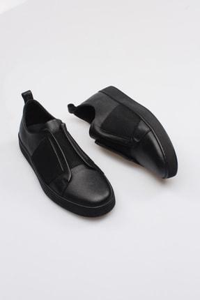 Alba Siyah Hakiki Deri Lastikli Erkek Ayakkabı 1