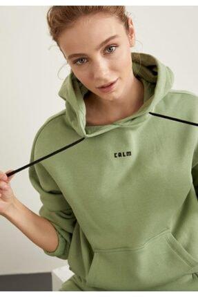 Defacto Içi Yumuşak Tüylü Kapüşonlu Baskılı Crop Sweatshirt 0