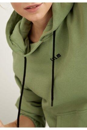 Defacto Içi Yumuşak Tüylü Kapüşonlu Baskılı Crop Sweatshirt 2