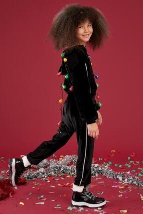 Defacto Kız Çocuk Kadife Kumaş Sweatshirt Ve Jogger Eşofman Takım 0