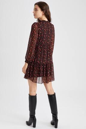 Defacto V Yaka Balon Kollu Desenli Elbise 3