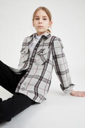 Defacto Kız Çocuk Oversize Oduncu Gömlek 0