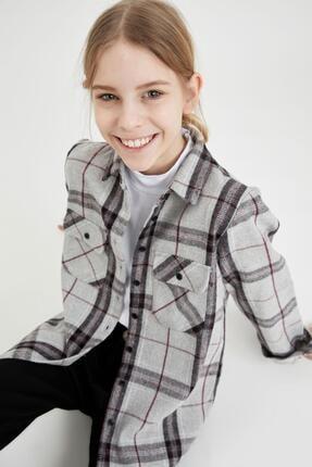 Defacto Kız Çocuk Oversize Oduncu Gömlek 2