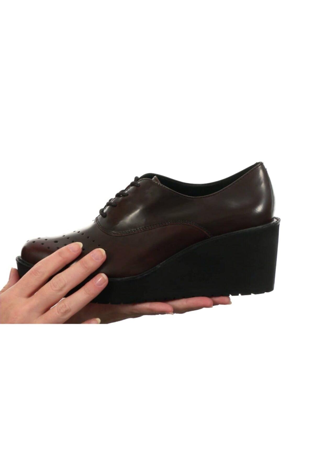 Kadın Bordo Deri Ortopedik Ayakkabı Topuk 7 Cm Comfort Game Oval