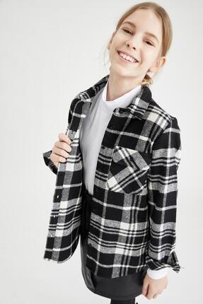 Defacto Kız Çocuk Oversize Oduncu Gömlek 1