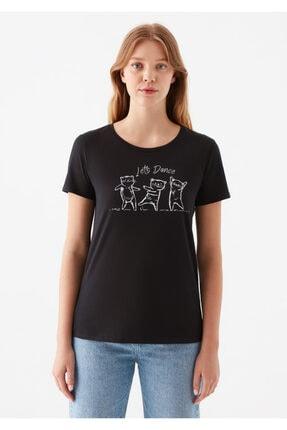 Mavi Kadın Siyah Lets Dance Baskılı  Tişört 2