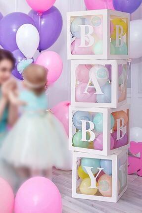 Patladı Gitti 33 Parça Baby Yazılı Şeffaf Beyaz Kutu Balon Seti, Baby Balon Kutusu Bebek Çocuk Doğum Günü Kutlama 1