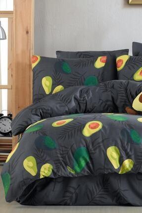 Fushia Avocado Dark %100 Pamuk Tek Kişilik Avakado Nevresim Takımı 4