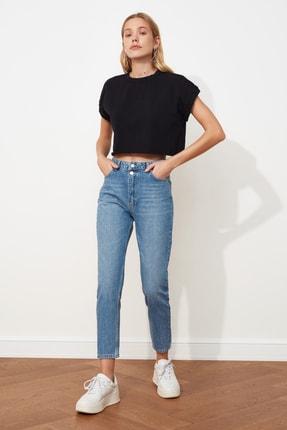 TRENDYOLMİLLA Mavi Çift Düğmeli Yüksek Bel Mom Jeans TWOSS21JE0153 0