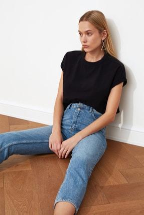 TRENDYOLMİLLA Mavi Çift Düğmeli Yüksek Bel Mom Jeans TWOSS21JE0153 1