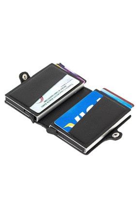 Leyl Çift Mekanizmalı Otomatik Kartlık Iki Gözlü Kredi Kartı Kartvizit Para Cüzdanı 1