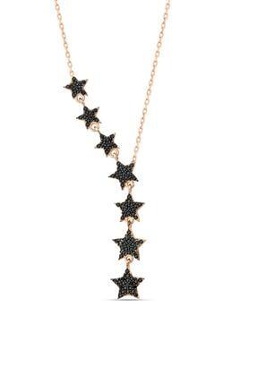 Herisson Kadın 925 Ayar Gümüş Zirkon Siyah Taşlı Kayan Yıldız Takım Kolye 3