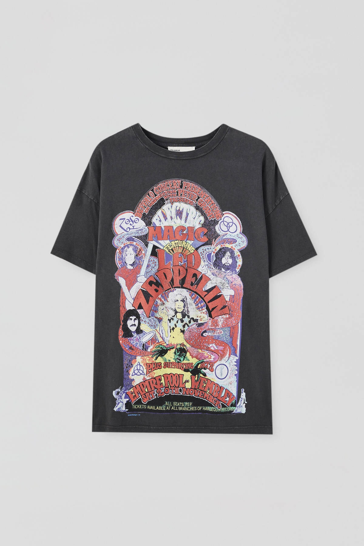 Pull & Bear Kadın Soluk Siyah Led Zeppelin Electric Magic Görselli T-Shirt 09247321 4
