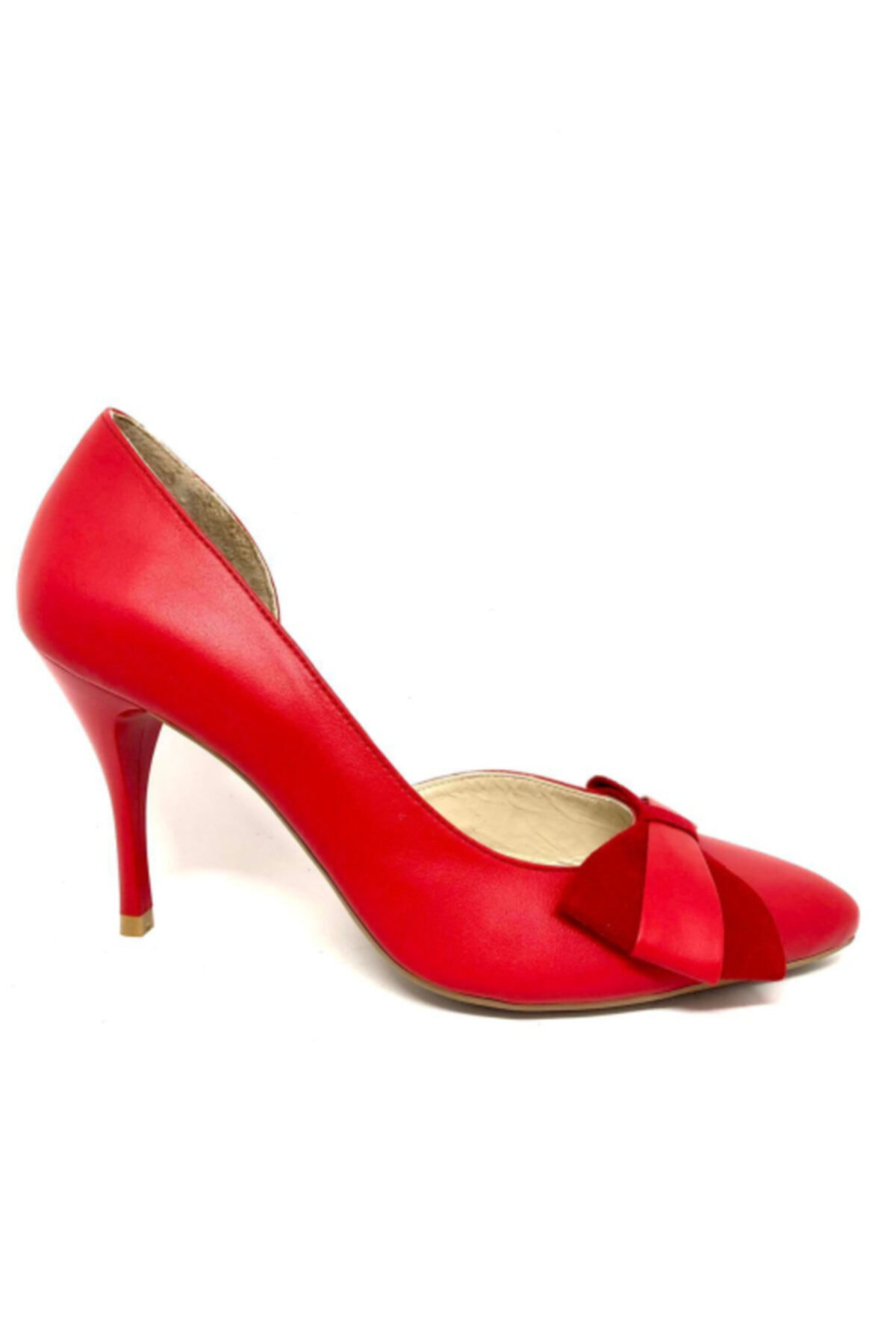 Mazzolino Kadın Fiyonklu Kırmızı Hakiki Süet Deri Stiletto Topuklu Ayakkabı 2120