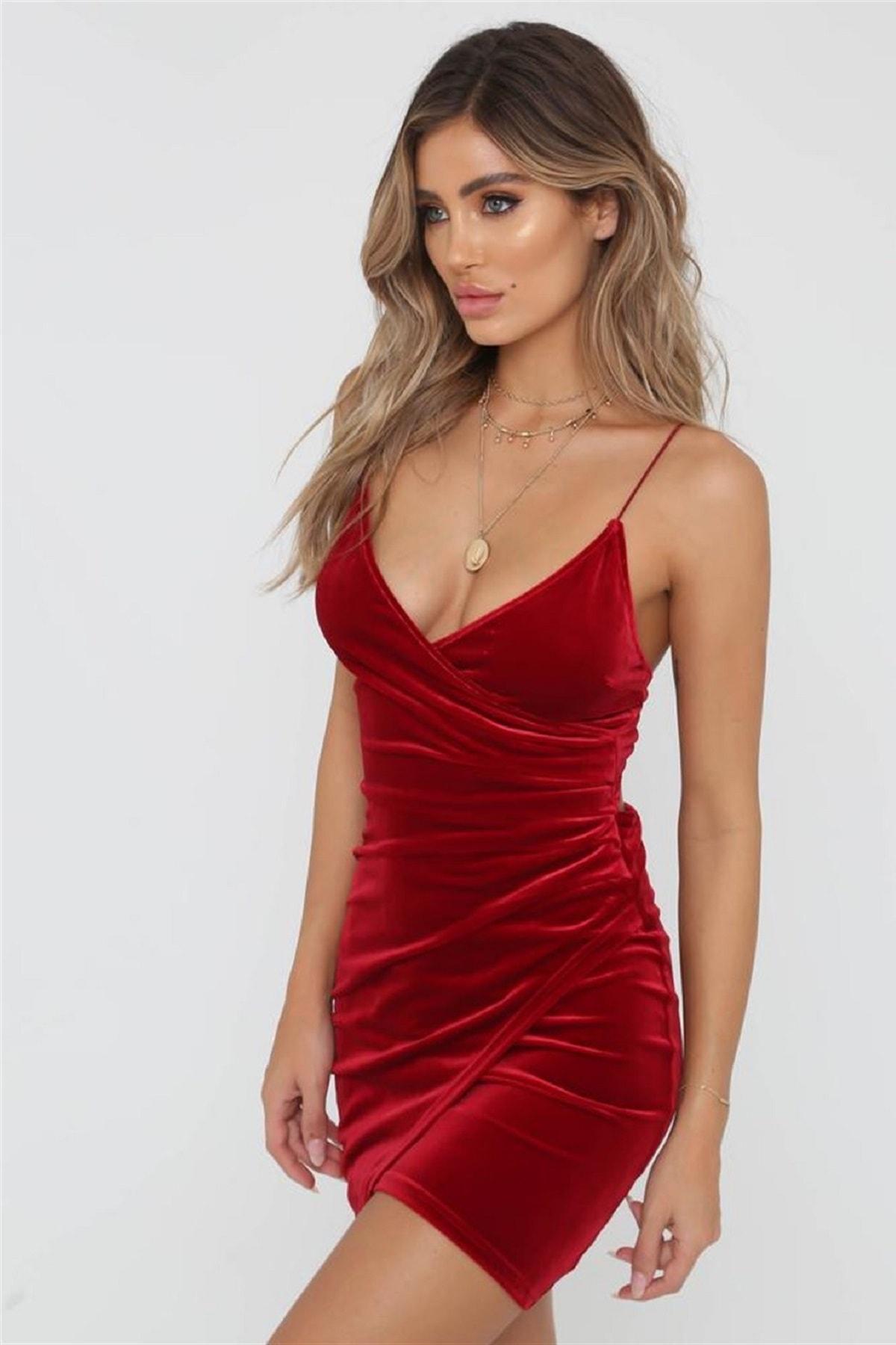 Kırmızı Kadife Mini Elbise