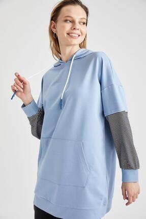 Defacto Kadın Mavi Renk Bloklu Kapüşonlu Kanguru Cepli Sweat Tunik 1