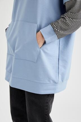 Defacto Kadın Mavi Renk Bloklu Kapüşonlu Kanguru Cepli Sweat Tunik 2