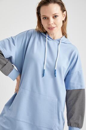 Defacto Kadın Mavi Renk Bloklu Kapüşonlu Kanguru Cepli Sweat Tunik 4