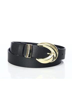 Kadın Siyah Altın Tokalı ve Köprülü Pantolon Kemeri CHRS00002