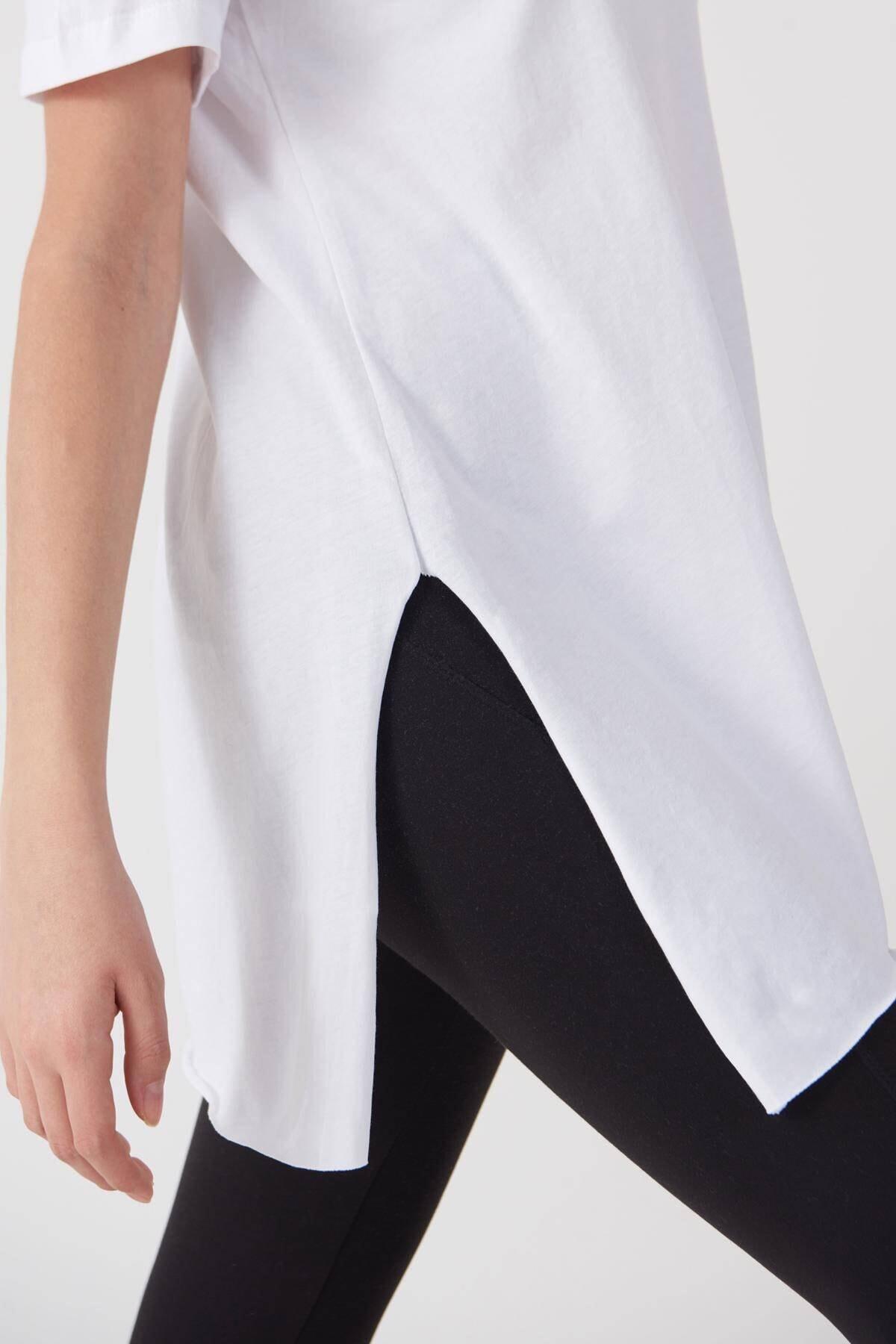 Addax Kadın Beyaz Bisiklet Yaka T-Shirt P0101 - U4 - Z1 Adx-00007204 2
